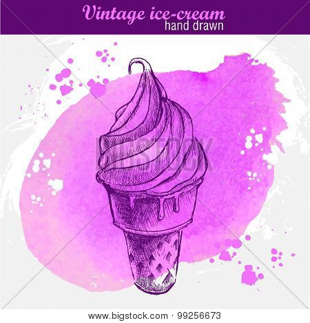 Hand drawn ice cream cone