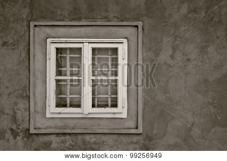 Old retro window with bars