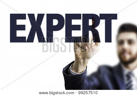Business man pointing the text: Expert