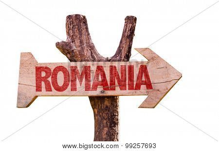 Romania wooden sign isolated on white background