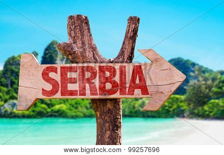 Serbia wooden sign with river background