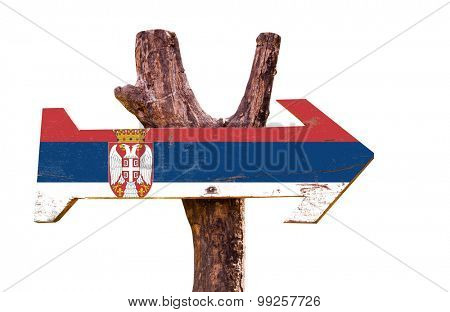 Serbia Flag wooden sign isolated on white background