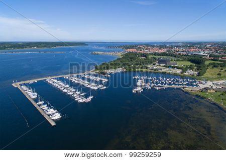 Aerial View Of Frederikssund Harbour, Denmark