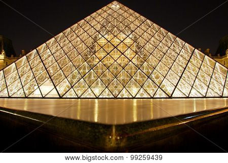 Louvre Pyramid and the palace, at night