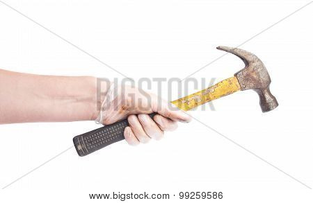 Worker's caucasian male hand holding tool