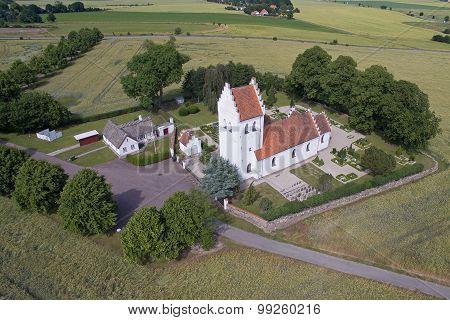 Aerial View Of Krogstrup Church In Denmark