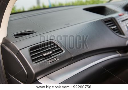 Closeup Of Air Conditioning In The Car