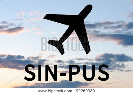 Airplane icon and inscription Sin-Pus