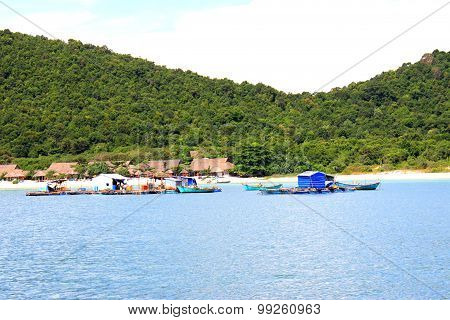 Aquaculture floating house in Phu Quoc island