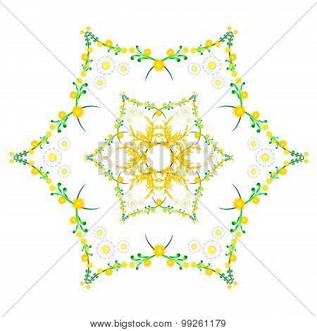 Floral Spring Pattern With Chamomile And Mimosa In Kaleidoscope