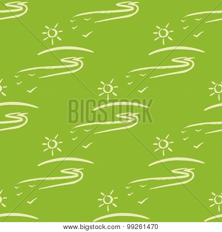 Vector seamless pattern with sun fnd road on green background.