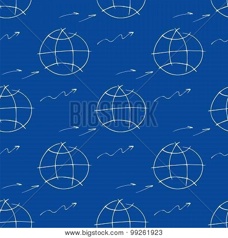Seamless pattern with hand-drawn element planet, arrow.