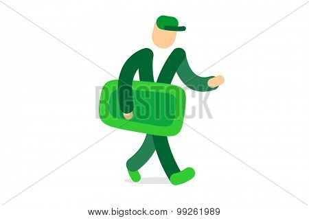 Abstract man silhouette with pack logo vector template. Delivery logo and super fast symbol, walking man icon, abstract cartoon mascot. Delivery logo. Abstract people walking
