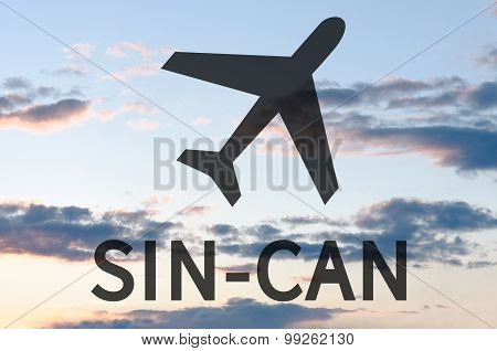 Airplane icon and inscription Sin-Can