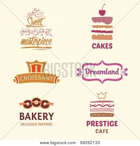 Set of patterns vector logos cakes. Logo confectionery, coffee s