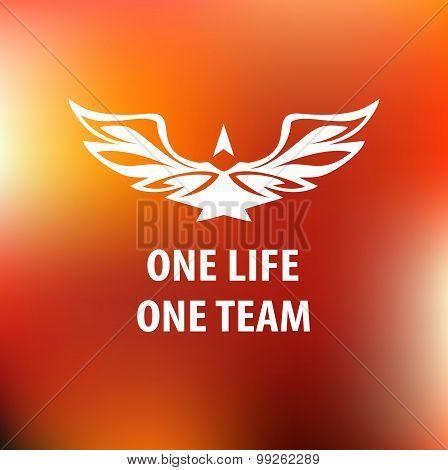 Motto, slogan sports team. One life, one team. White silhouette