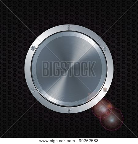 3D Metallic Button With Screws Over Honeycomb Metal Plate