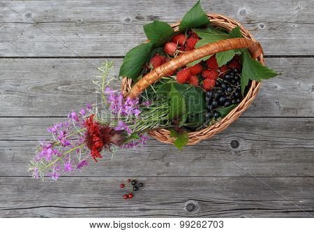 Basket With Berries And Flowers On A Rustic Wooden Table In The Garden