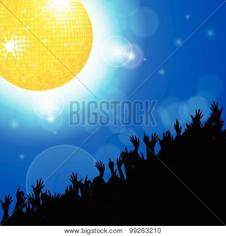 Disco Ball With Crowd Over Blue Glowing Background