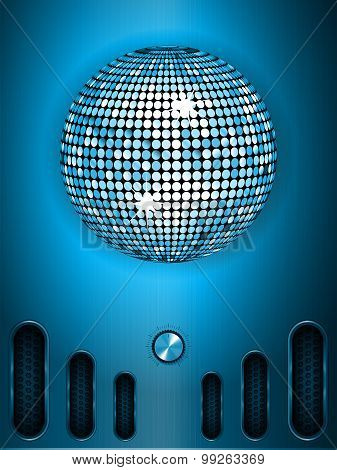 Disco Ball With Dial On Blue Metallic Portrait Background