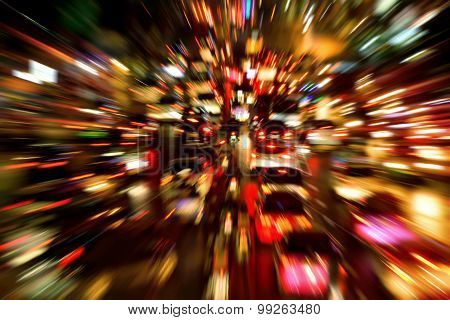 Traffic Jam Night Shot, With Dynamic Blur Effect