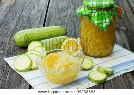 Sweet Zucchini In Sweet Syrup On A Wooden Table