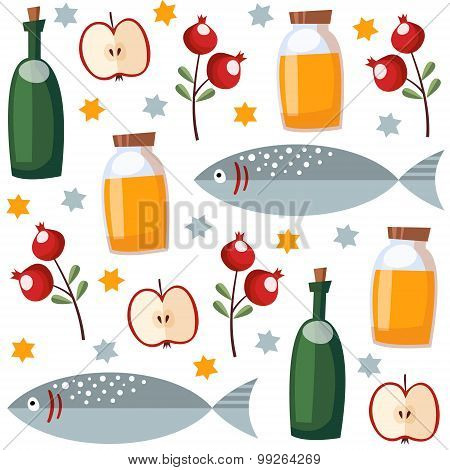 Rosh Hashana Seamless Pattern With Honey, Fish, Fruit, Vector