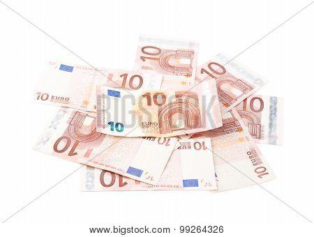 Pile of ten euro notes