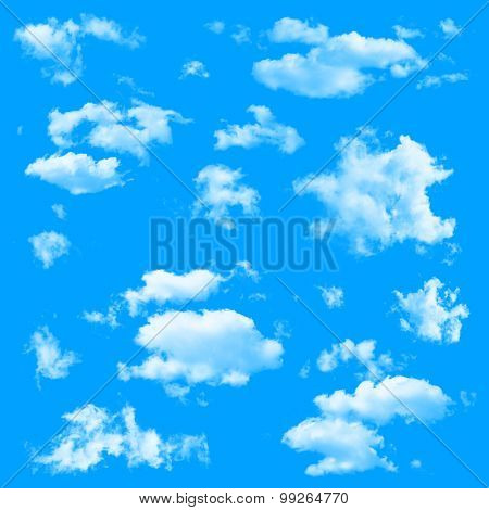 Set of multiple clouds isolated