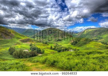 Mountains and hills in English countryside scene the Lake District Martindale Valley