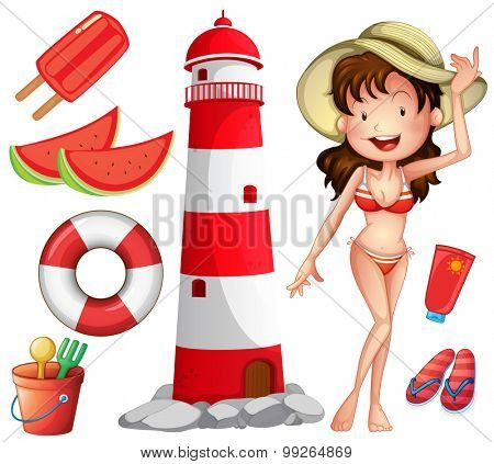Woman in bikini and other beach things illustration