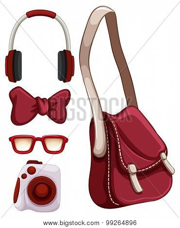 Handbag and other red objects illustration