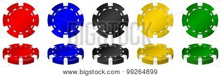 Casino chips in many colors illustration
