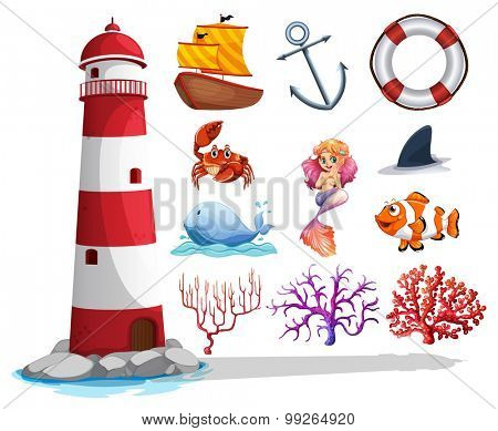 Lighthouse and other ocean things illustration