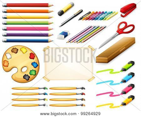 Stationary set with color pencils and art objects illustration