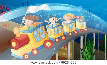 Children riding on train in the tunnel illustration