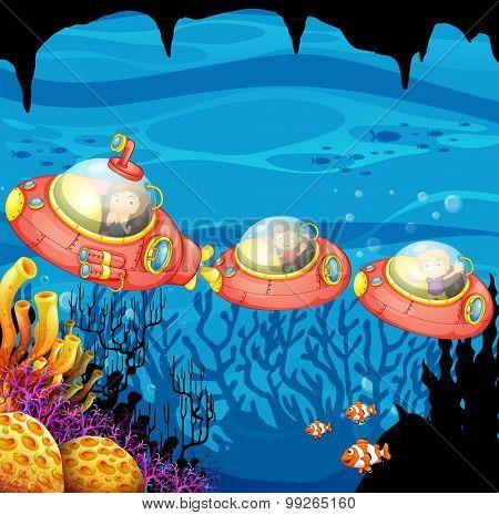 Children riding submarine underwater illustration