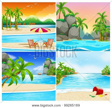 Four scene of beach and island illustration
