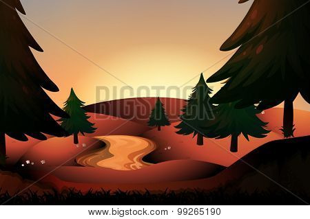 Silhouette river running down hills illustration