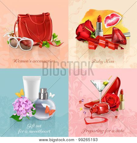 Beauty and cosmetics set of concepts vector backgrounds