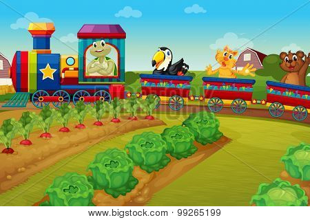 Animals riding on train by the farm illustration