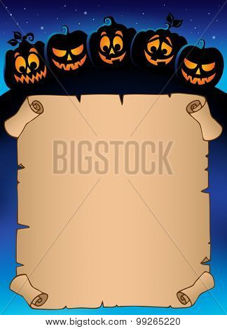 Parchment with pumpkin silhouettes 4 - eps10 vector illustration.