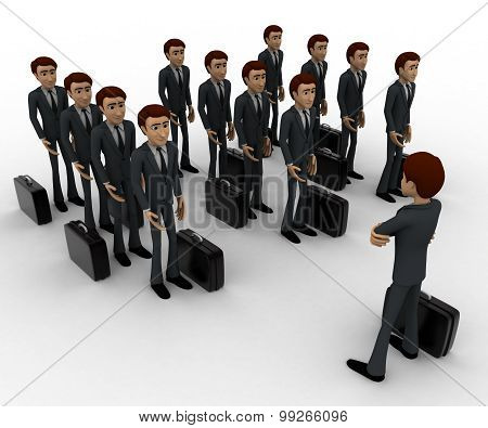 3D Man Addressing Group Of Executives Concept
