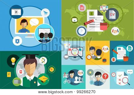 Online education vector icons. Webinar and school. Office life, work. University courses. Students, people silhouette and online education objects. Man silhouette. Abstract people. Teambuilding. Group