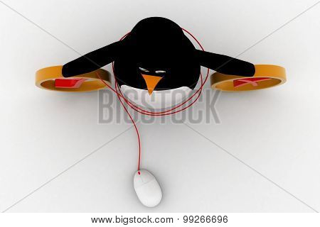 3D Penguin With Right And Wrong And Mouse Of Computer Concept