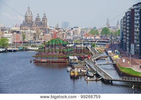 View to the city of Amsterdam, Netherlands.