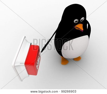 3D Penguin Press Square Help Concept