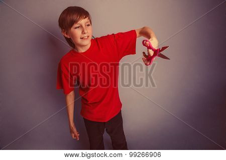Boy, teenager, twelve years in the red shirt red is holding of p