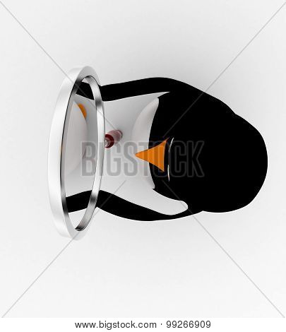 3D Penguin Looking Through Magnifying Glass Concept