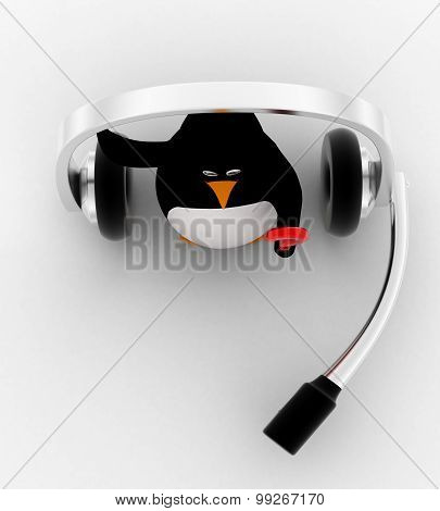 3D Penguin With Big Headphone And Holding Question Mark In Hand Concept